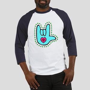 Aqua Bold Love Hand Baseball Jersey