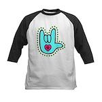 Aqua Bold Love Hand Kids Baseball Jersey