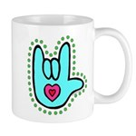 Aqua Bold Love Hand Mug