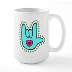 Aqua Bold Love Hand Large Mug