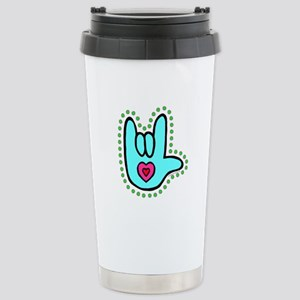Aqua Bold Love Hand Stainless Steel Travel Mug