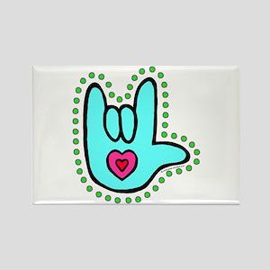 Aqua Bold Love Hand Rectangle Magnet