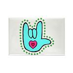 Aqua Bold Love Hand Rectangle Magnet (100 pack)