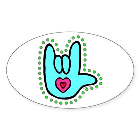 Aqua Bold Love Hand Oval Sticker