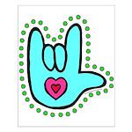 Aqua Bold Love Hand Small Poster