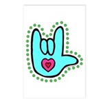 Aqua Bold Love Hand Postcards (Package of 8)