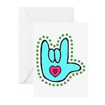 Aqua Bold Love Hand Greeting Cards (Pk of 10)