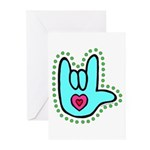 Aqua Bold Love Hand Greeting Cards (Pk of 20)