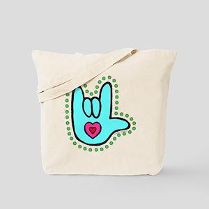 Aqua Bold Love Hand Tote Bag