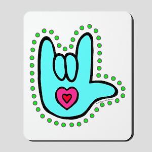 Aqua Bold Love Hand Mousepad