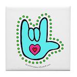 Aqua Bold Love Hand Tile Coaster