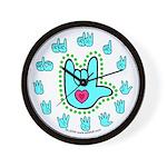 Aqua Bold Love Hand Wall Clock