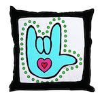 Aqua Bold Love Hand Throw Pillow