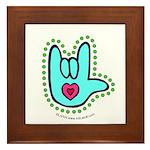 Aqua Bold Love Hand Framed Tile