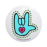 Aqua Bold Love Hand Ornament (Round)