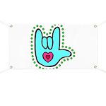 Aqua Bold Love Hand Banner
