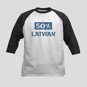 50 Percent Latvian Kids Baseball Jersey