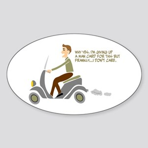 Scooter Retro Boy Oval Sticker