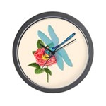 Dragonfly & Wild Rose Wall Clock