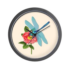 Dragonfly & Wild Rose Wall Clock