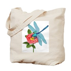Dragonfly & Wild Rose Tote Bag