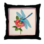 Dragonfly & Wild Rose Throw Pillow