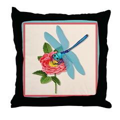 Dragonfly & Wild Rose Throw Pillow