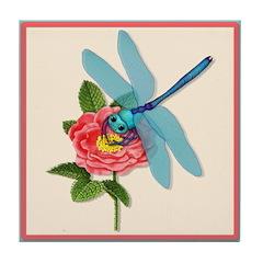 Dragonfly & Wild Rose Tile Coaster