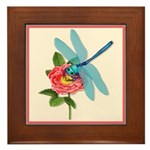 Dragonfly & Wild Rose Framed Tile