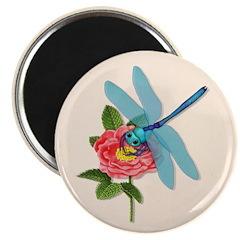Dragonfly & Wild Rose Magnet