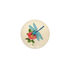 Dragonfly & Wild Rose Mini Button (10 pack)