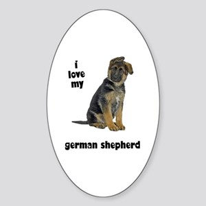 German Shepherd Love Oval Sticker