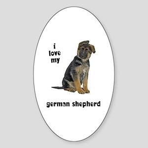 German Shepherd Love Oval Sticker