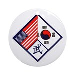 Dual Flag & Moo Ornament (Round)