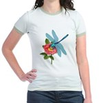 Dragonfly & Wild Rose Jr. Ringer T-Shirt