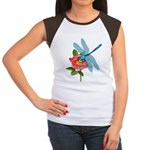 Dragonfly & Wild Rose Women's Cap Sleeve T-Shirt