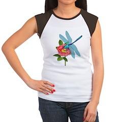Dragonfly & Wild Rose Women's Cap Sleeve T-Shirt