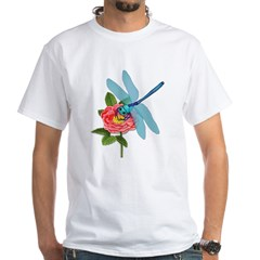 Dragonfly & Wild Rose White T-Shirt