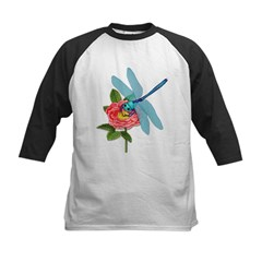 Dragonfly & Wild Rose Kids Baseball Jersey