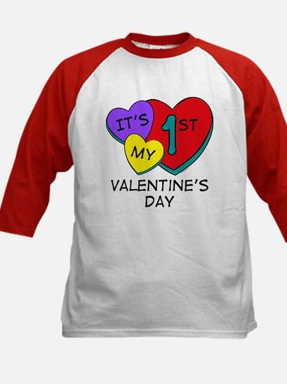 1st Valentine's Day Hearts Kids Baseball Jersey