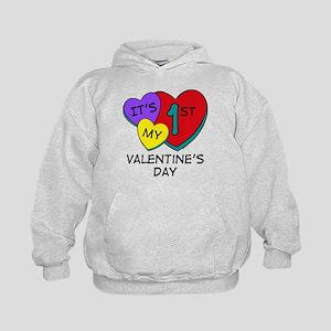 1st Valentine's Day Hearts Kids Hoodie