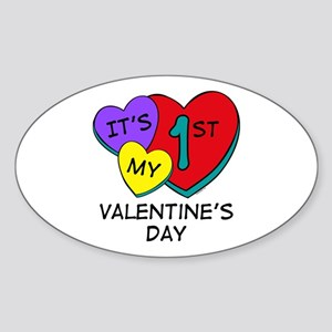 1st Valentine's Day Hearts Oval Sticker