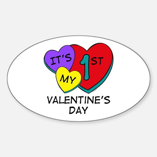 1st Valentine's Day Hearts Oval Decal
