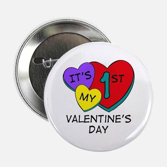 """1st Valentine's Day Hearts 2.25"""" Button"""