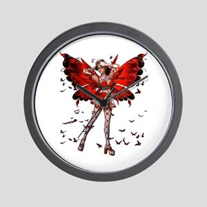 Butterfly Kisses Ruby Wall Clock