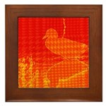 Quilted Duck Bird Watching Framed Tile