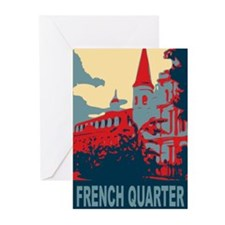 French Quarter in Red and Blu Greeting Cards (Pk o