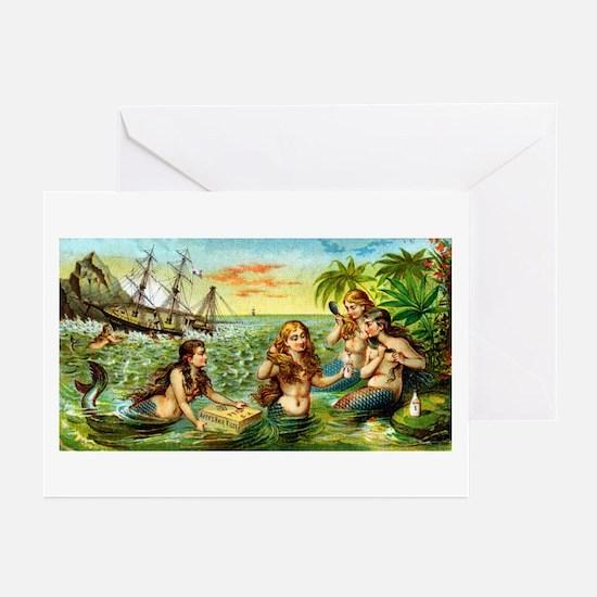 Cute Vintage mermaid Greeting Cards (Pk of 10)