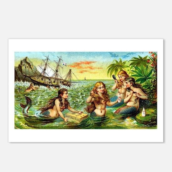 Cute Mermaid art Postcards (Package of 8)