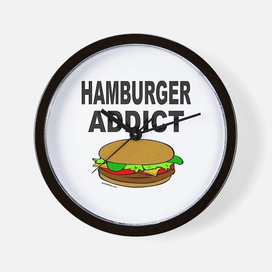 HAMBURGER ADDICT Wall Clock
